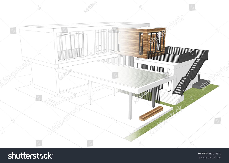 Modern House Concept Sketch Render Stock Illustration - Modern house sketch
