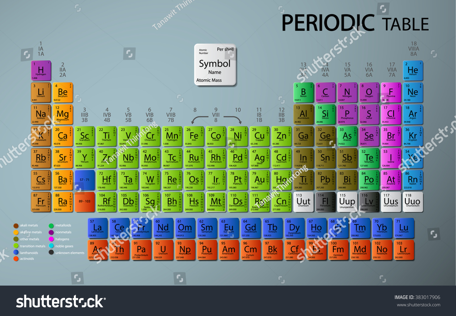 Periodic table elements stock vector 383017906 shutterstock periodic table of the elements gamestrikefo Image collections