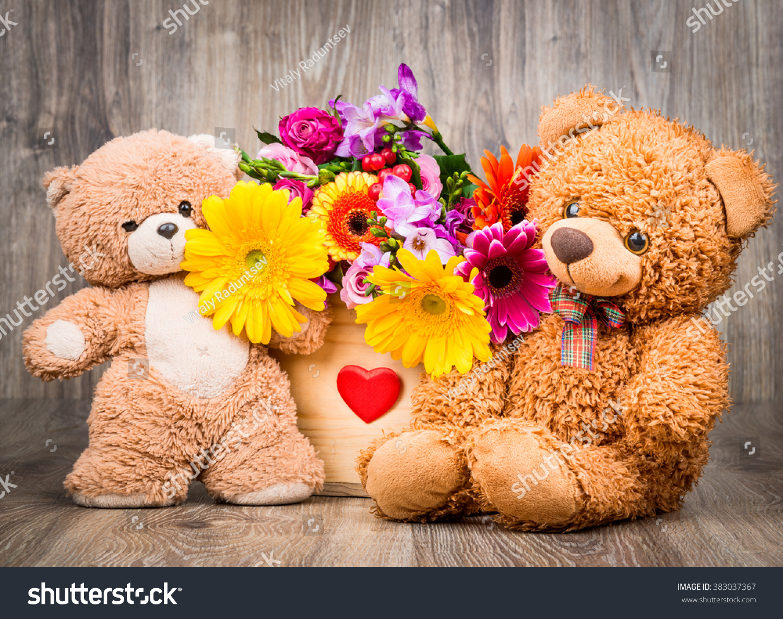 Beautiful flowers box teddy bears on stock photo edit now beautiful flowers in the box and teddy bears on wooden background izmirmasajfo