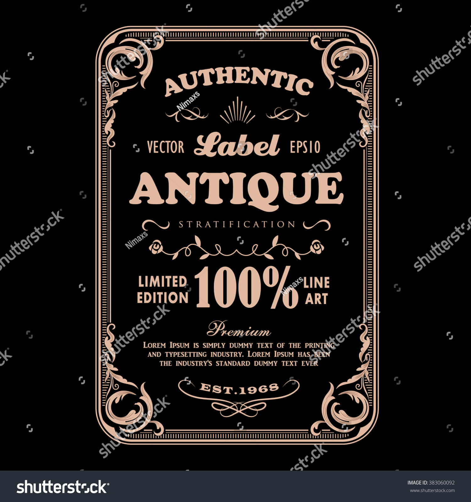 Original Whiskey Poster With Label Font In Vintage Style On Black