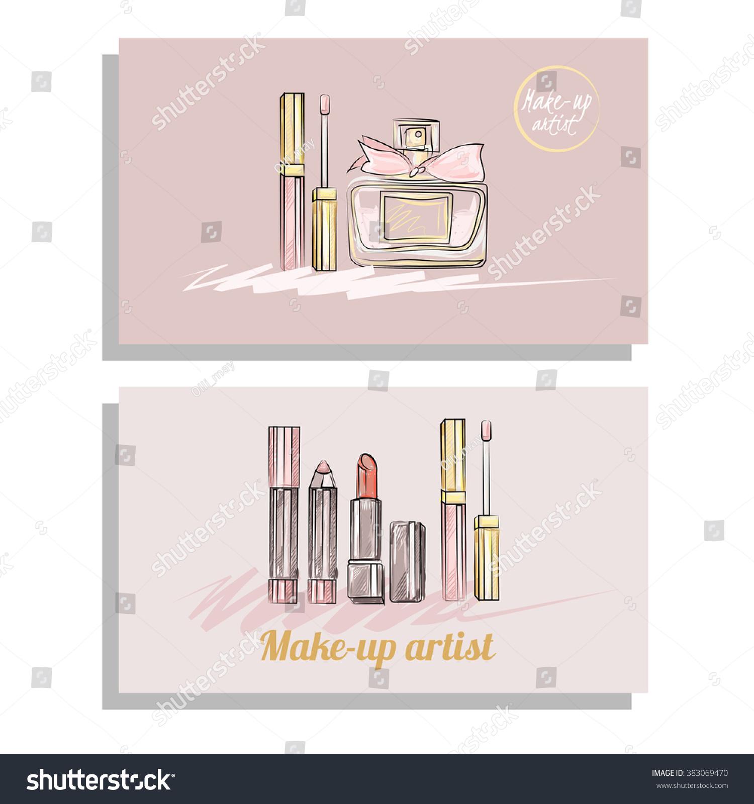Makeup Artist Business Card Vector Template Stock Vector 383069470 ...