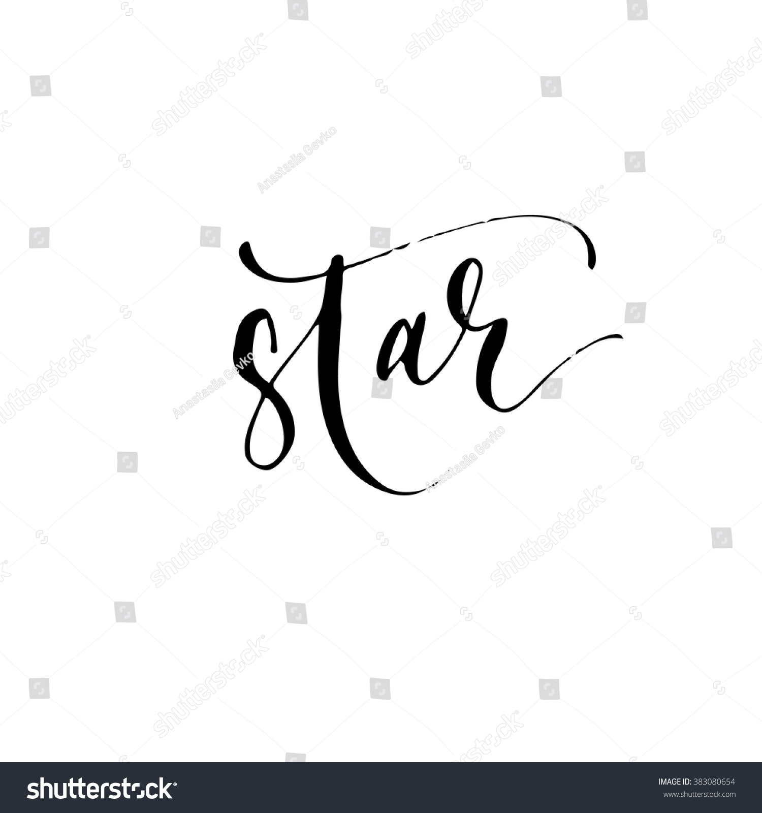 short word star hand drawn lettering stock vector royalty free