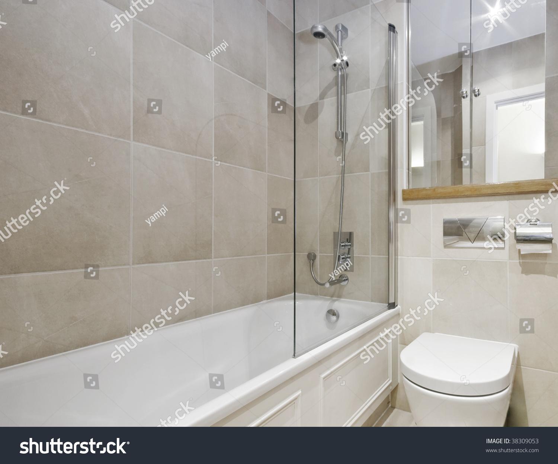 Modern Bathroom White Ceramic Appliances Beige Stock Photo
