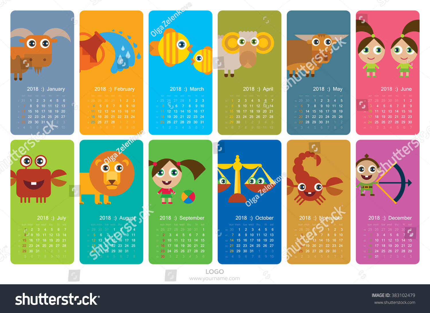 creative calendar 2018 wiith horoscope signs astrological zodiac symbols flat vector editable illustration best for kids products week start on sunday