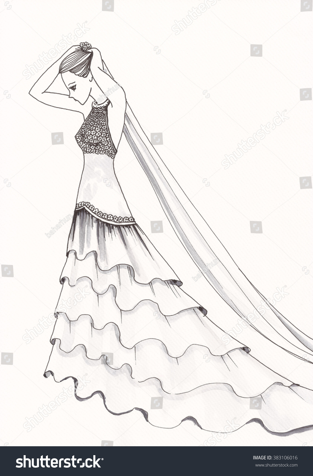 Bride wearing dress pencil drawing black lines