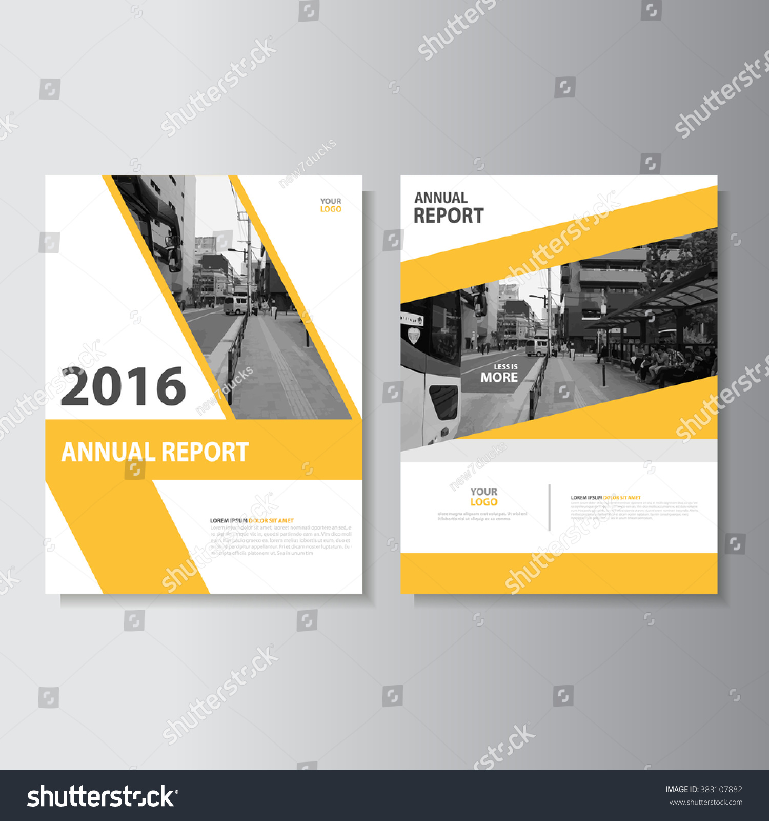 Simple Book Cover Template : Yellow annual report leaflet brochure flyer template a