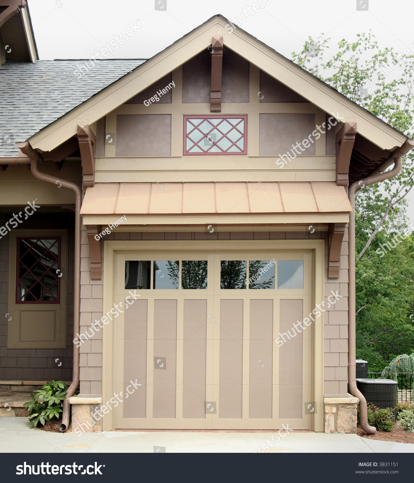 Craftsman Style Det Garage Garage: Craftsman Style Garage. Transportation Storage. Stock