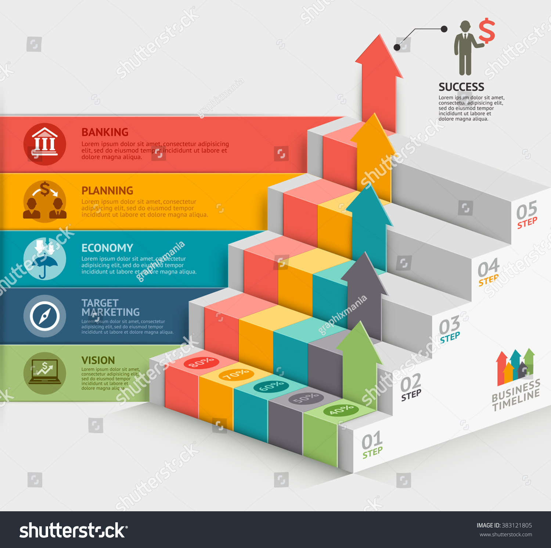 3d Business Staircase Diagram Template Vector Stock Vector