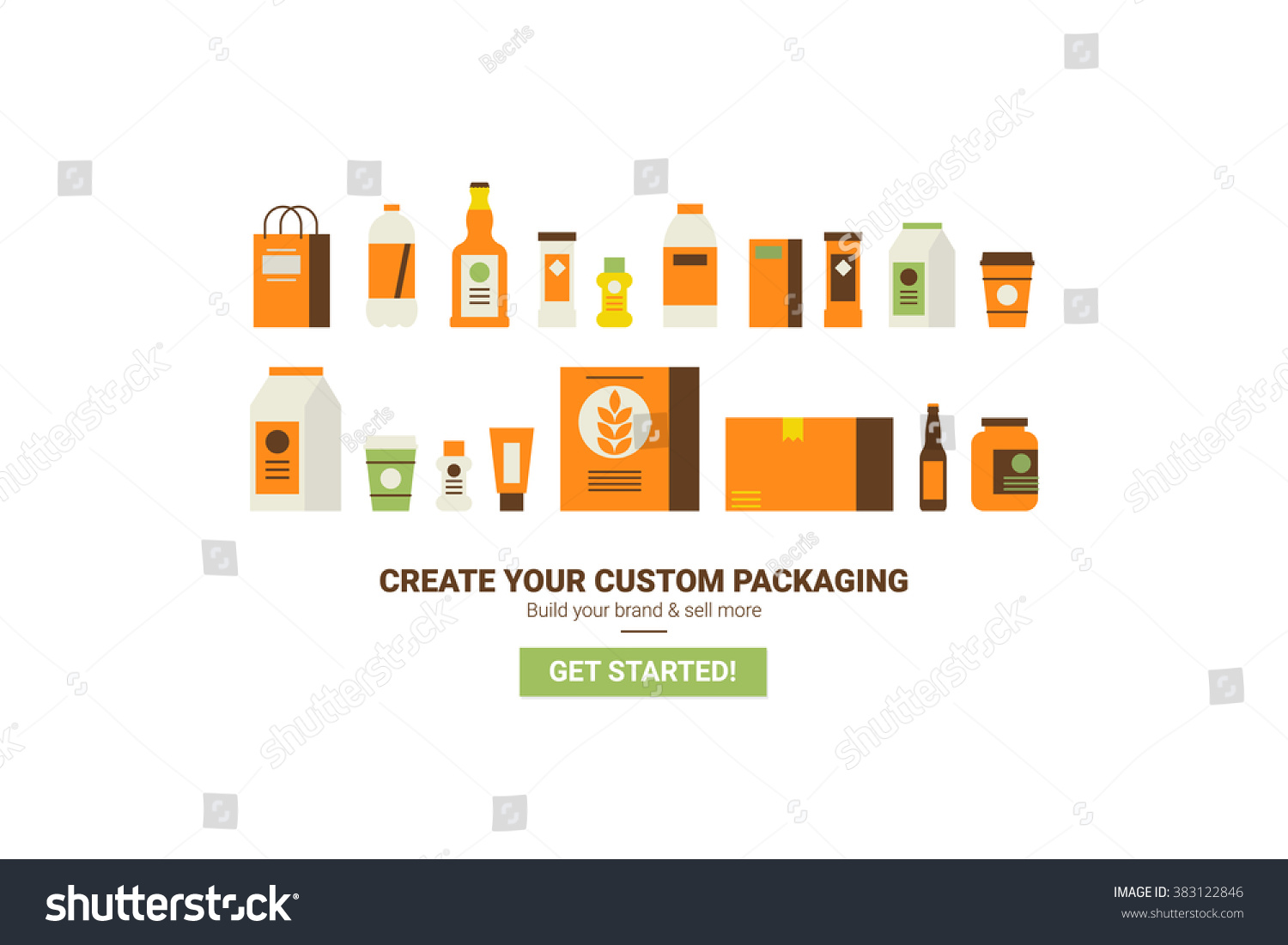 Custom packaging concept flat design website stock vector custom packaging concept flat design for website template or magazine illustration print pronofoot35fo Choice Image