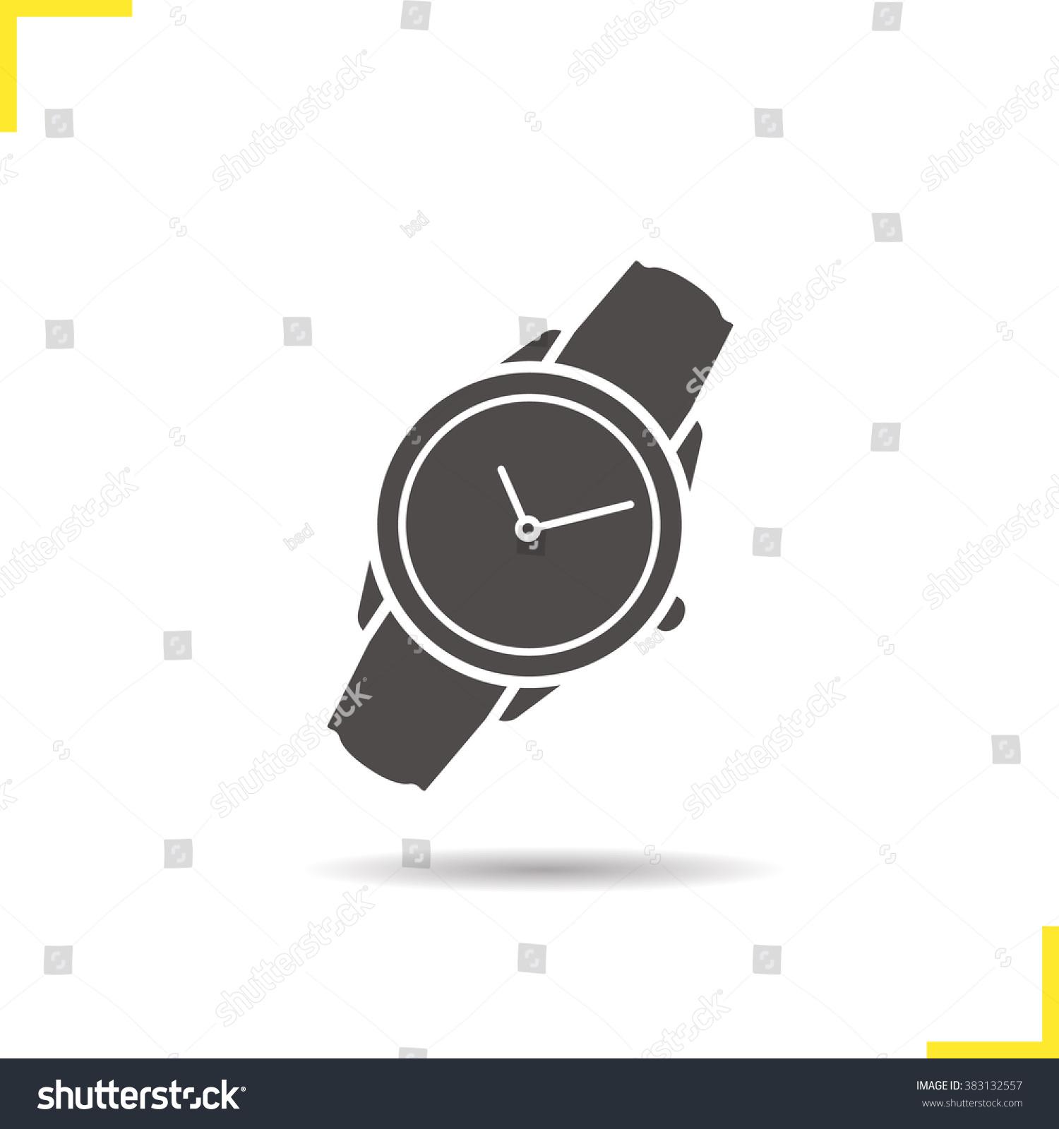 wristwatch icon drop shadow watch icon stock vector 383132557 wristwatch icon drop shadow watch icon men s hand watches accessory classic wrist watch