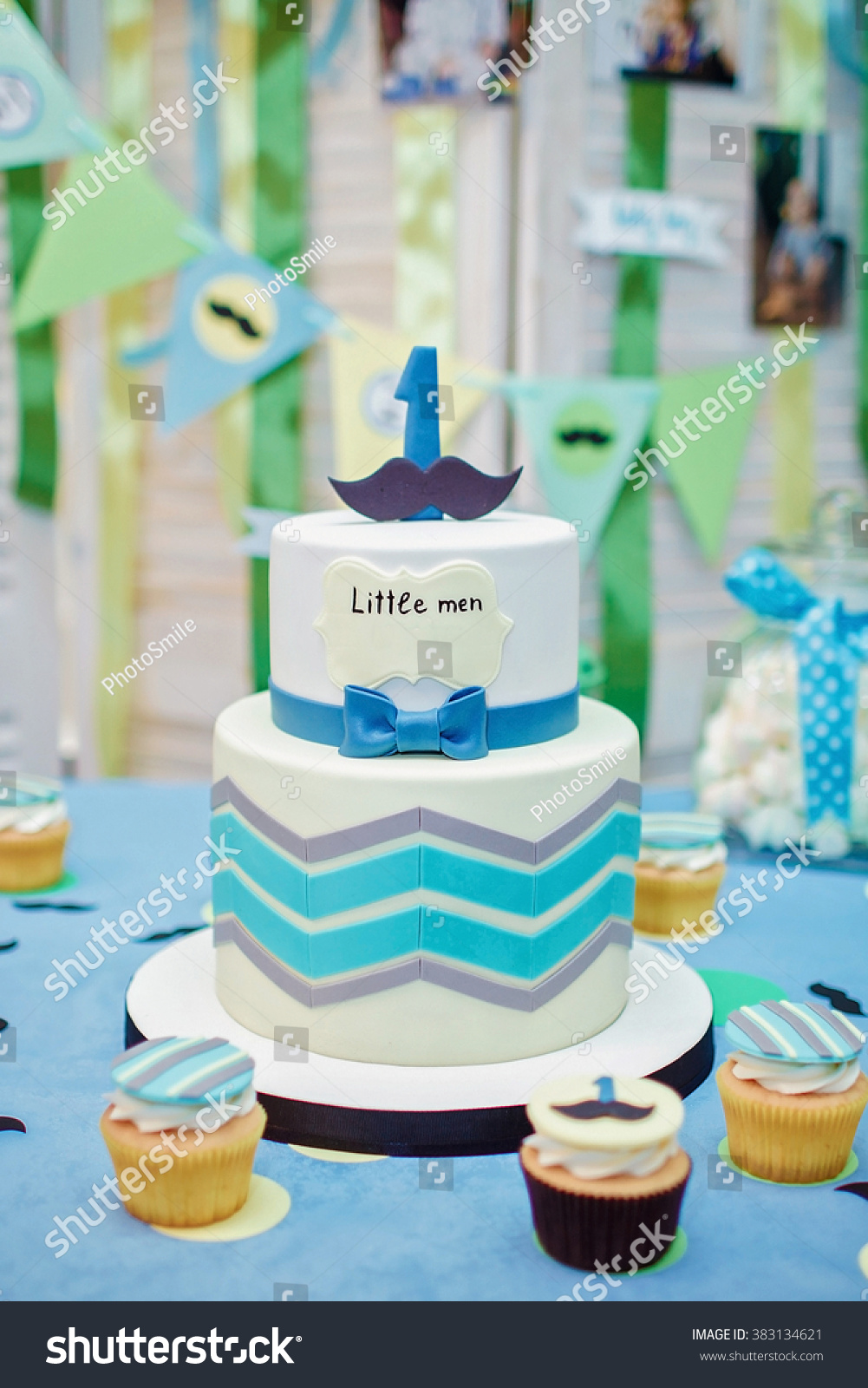 Birthday Cake One Year Old Boy Stock Photo Edit Now 383134621