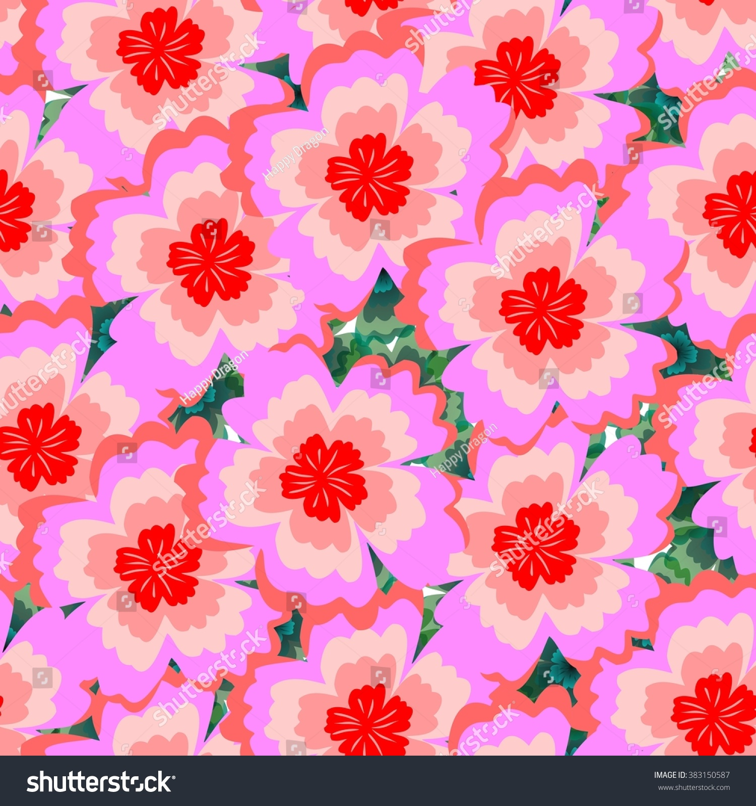 Seamless Pink Floral Background Beautiful Bright Stock Illustration