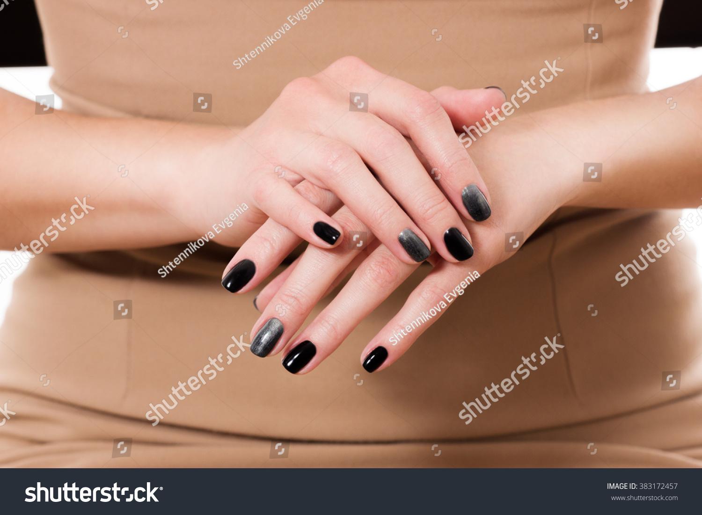 Manicured Nail Black Matte Nail Polish Stock Photo (Royalty Free ...