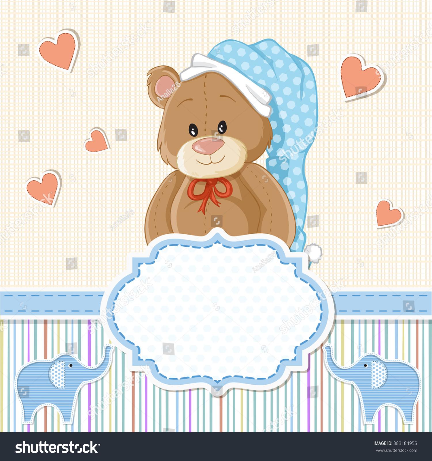 Teddy Bear Baby Boy Baby Shower Stock Illustration 383184955 ...
