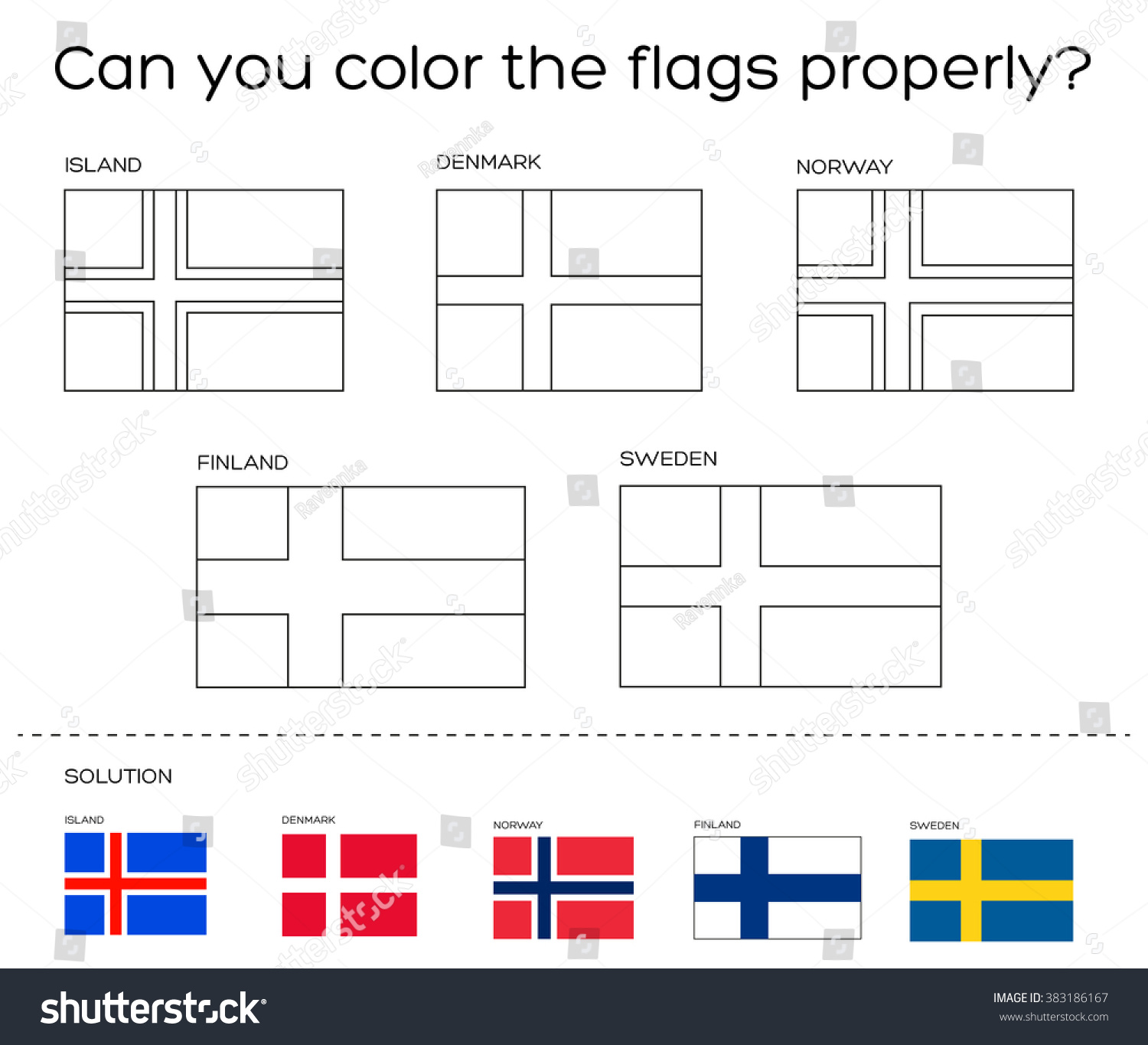 Coloring Book Task Scandinavian Flags Solution Stock Vector Royalty