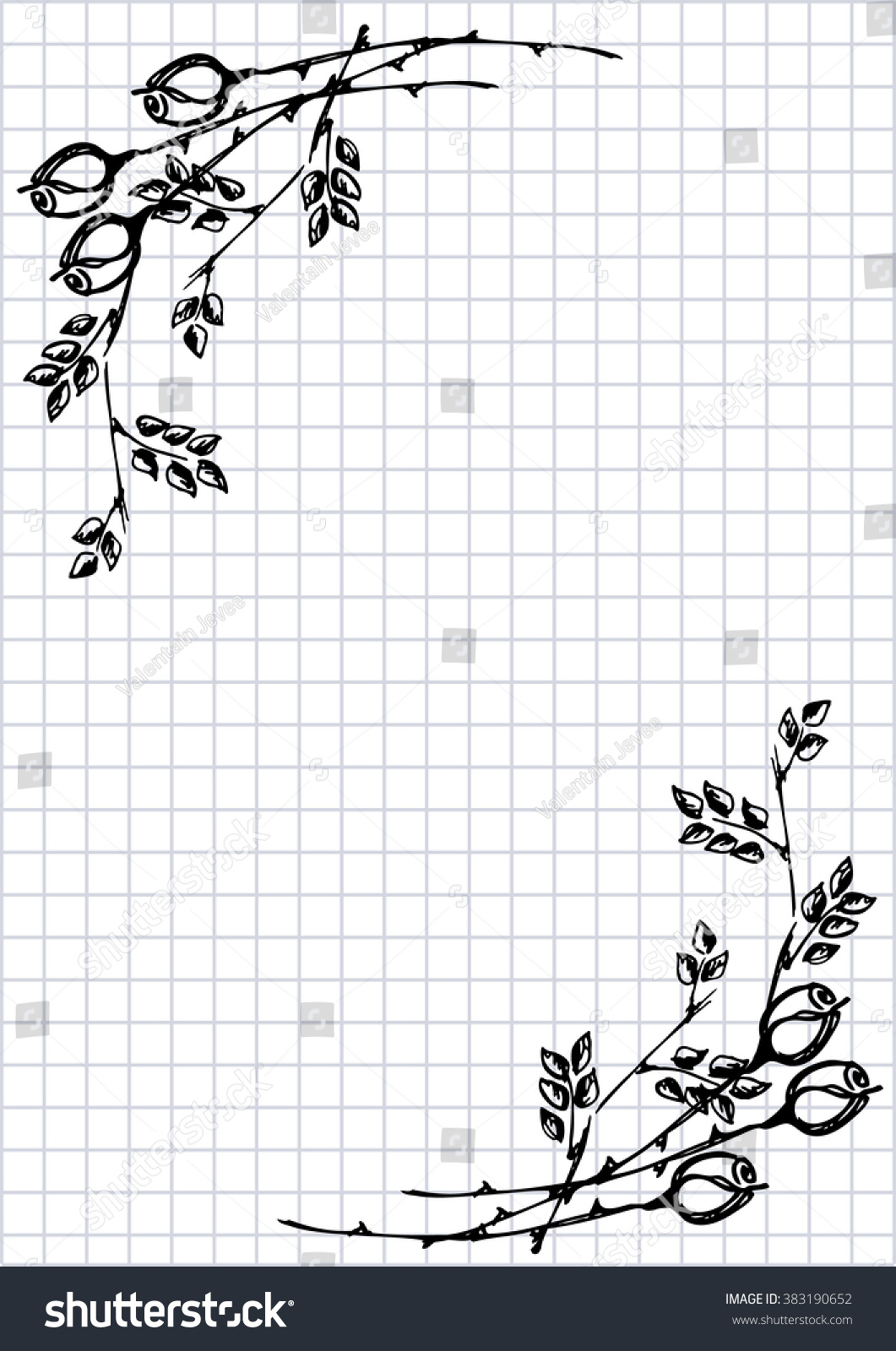 Raster Floral Blank For Letter Or Greeting Card Checkered Paper