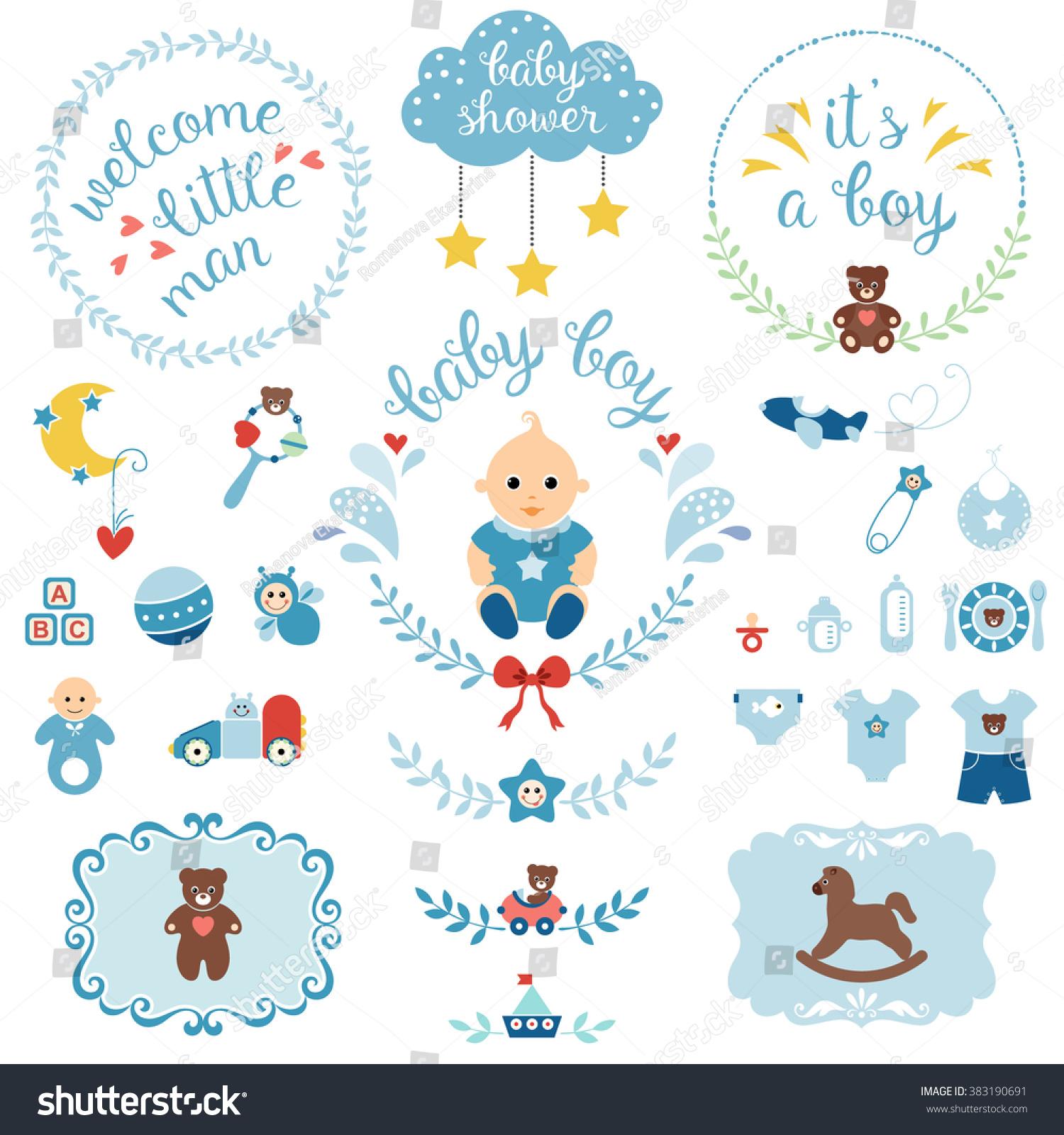 Set Cute Items Newborn Baby Boy Stock Vector Shutterstock