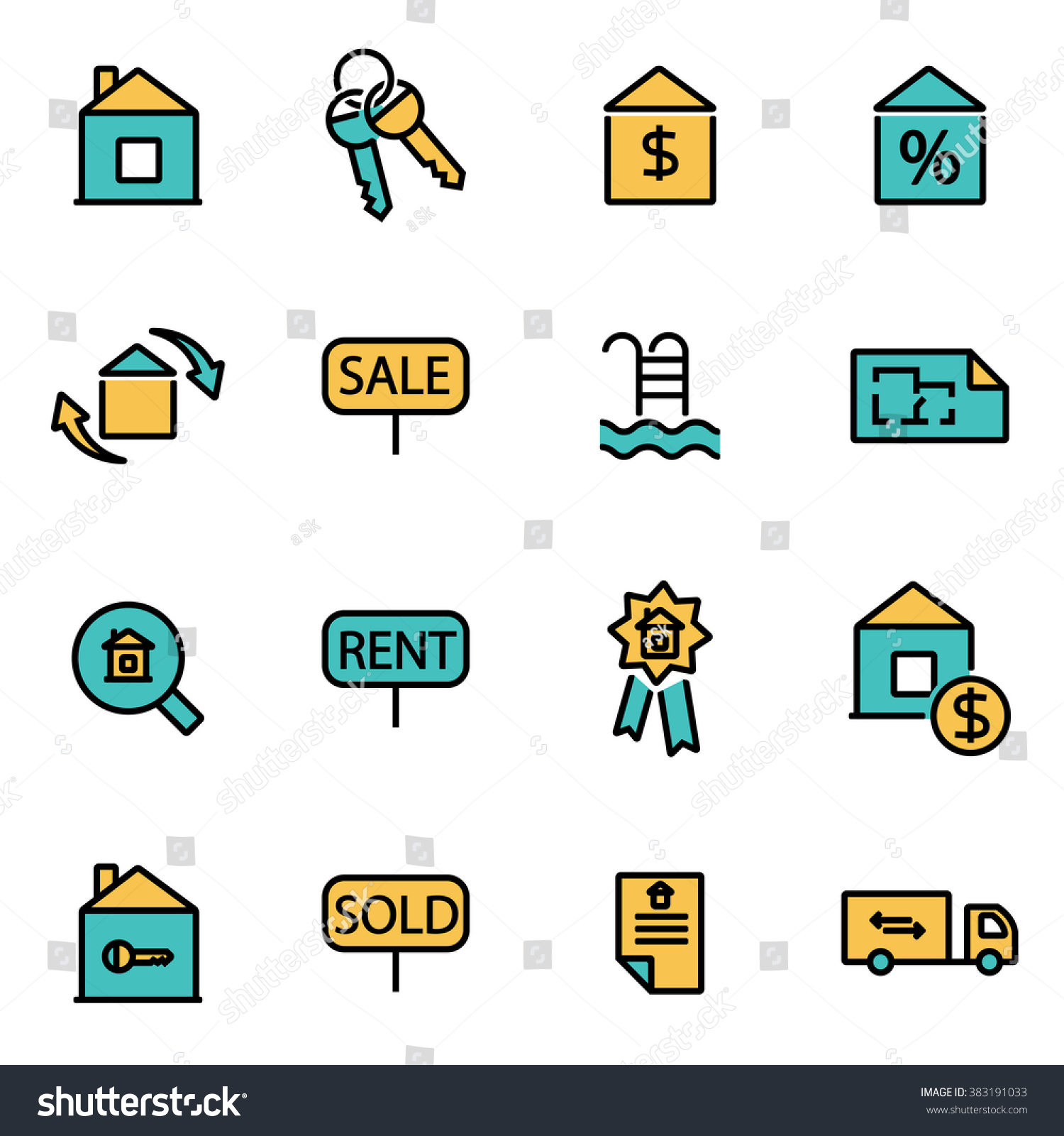 Real Estate Development Icon : Trendy flat line icon pack designers stock vector