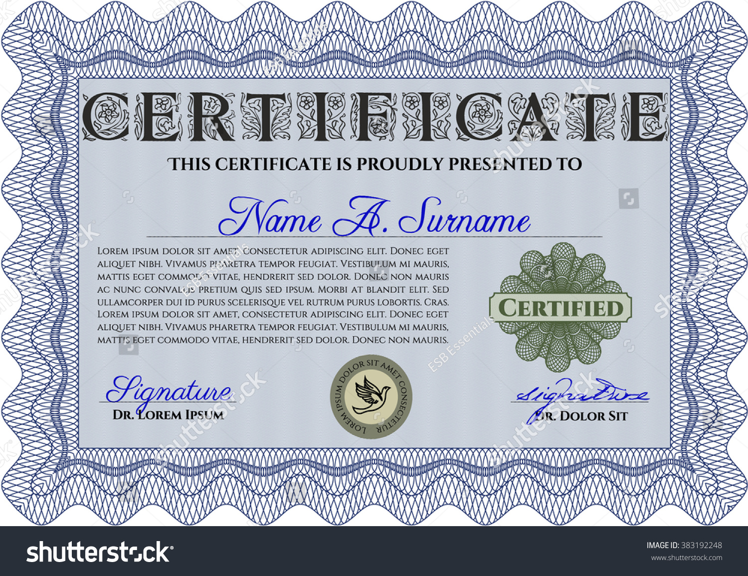 Sample diploma frame certificate template vector stock vector sample diploma frame certificate template vector with linear background elegant design blue yelopaper Images