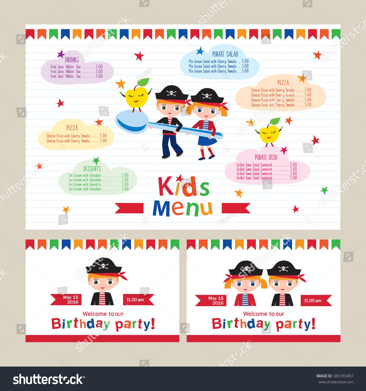 Kids Menu Vector Template Kids Menu Stock Vector 383193457