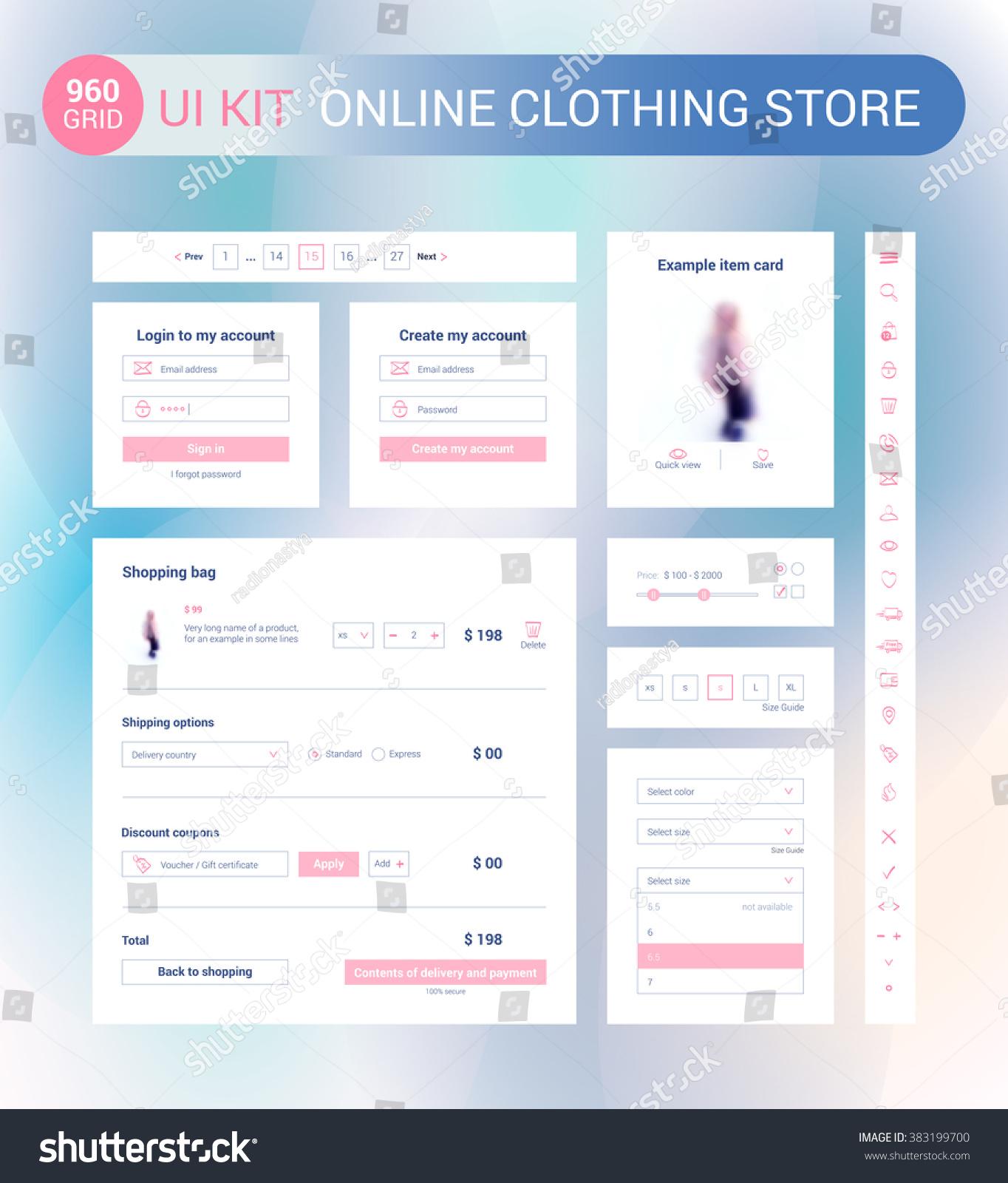 Ui Ux Kit Online Clothing Store Stock Vector 383199700 - Shutterstock