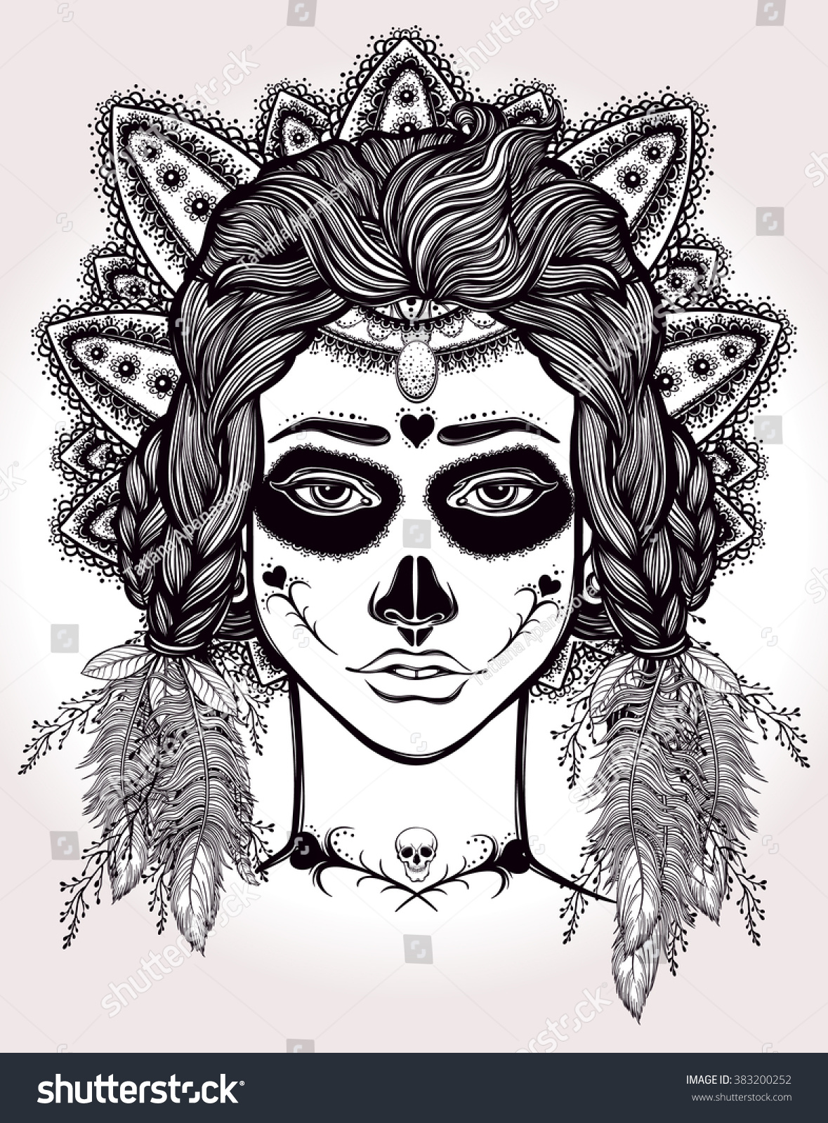 The coloring book of the dead - Hand Drawn Artwork Of Mexican Day Of The Dead Girl Coloring Book