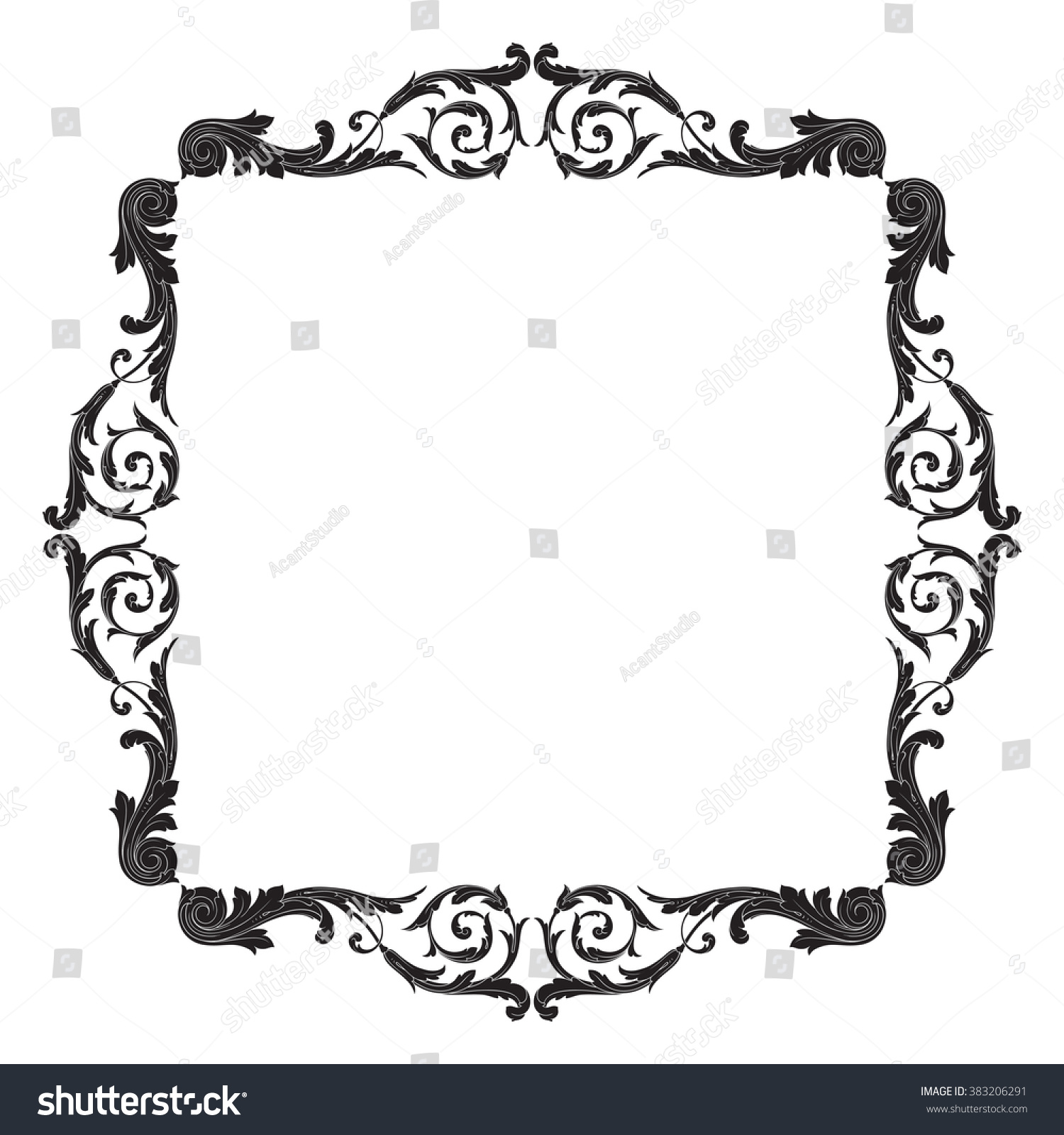 Antique Scroll Vector: Vintage Baroque Frame Scroll Ornament Engraving Stock