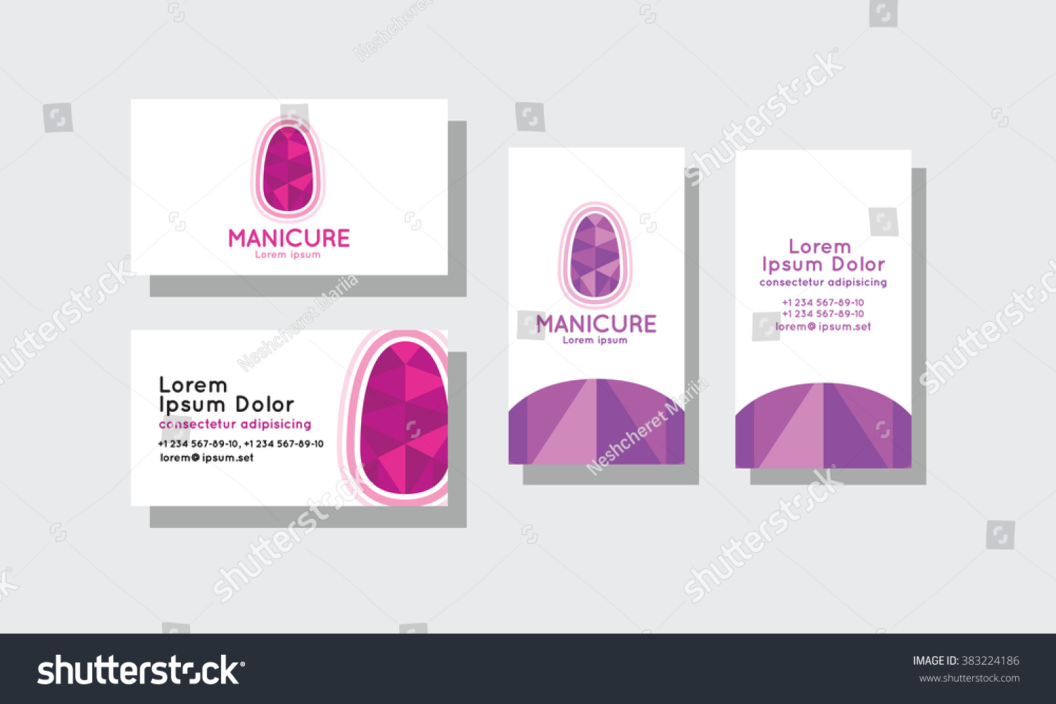 Set Business Cards Manicure Stock Vector 383224186 - Shutterstock