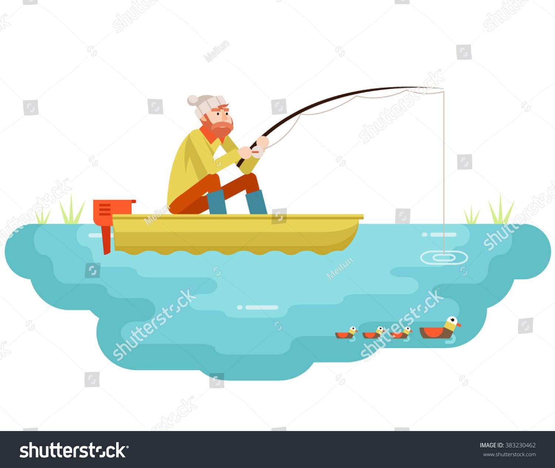 lake fishing adult fisherman fishing rod stock vector. Black Bedroom Furniture Sets. Home Design Ideas