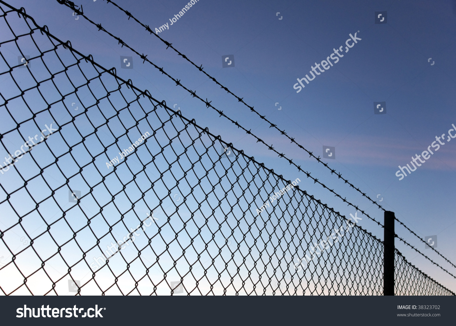 Chain Link Fence Barbed Wire Against Stock Photo (Edit Now) 38323702 ...