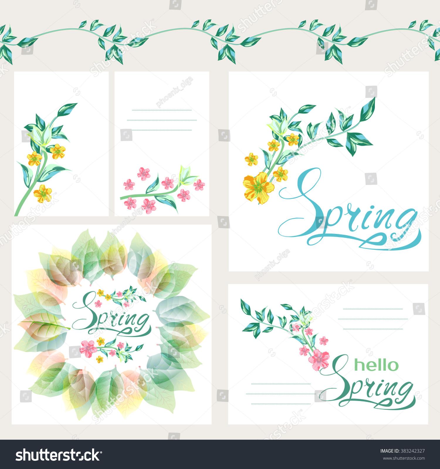 Fresh Spring Flowers Background Design Set Stock Vector Royalty
