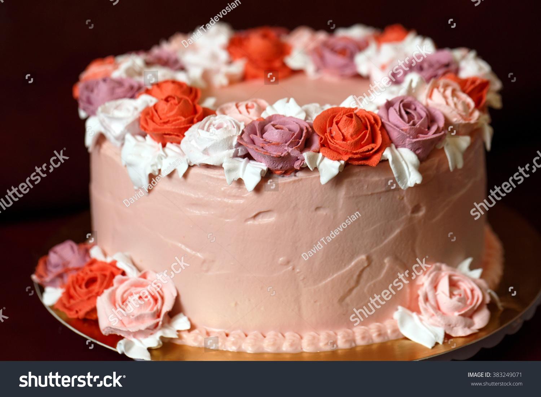 Birthday Cake Red Roses Stock Photo Edit Now 383249071 Shutterstock