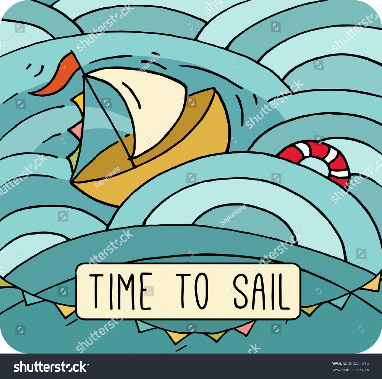 Cartoon Ship Sails On Sea Cute Stock Illustration