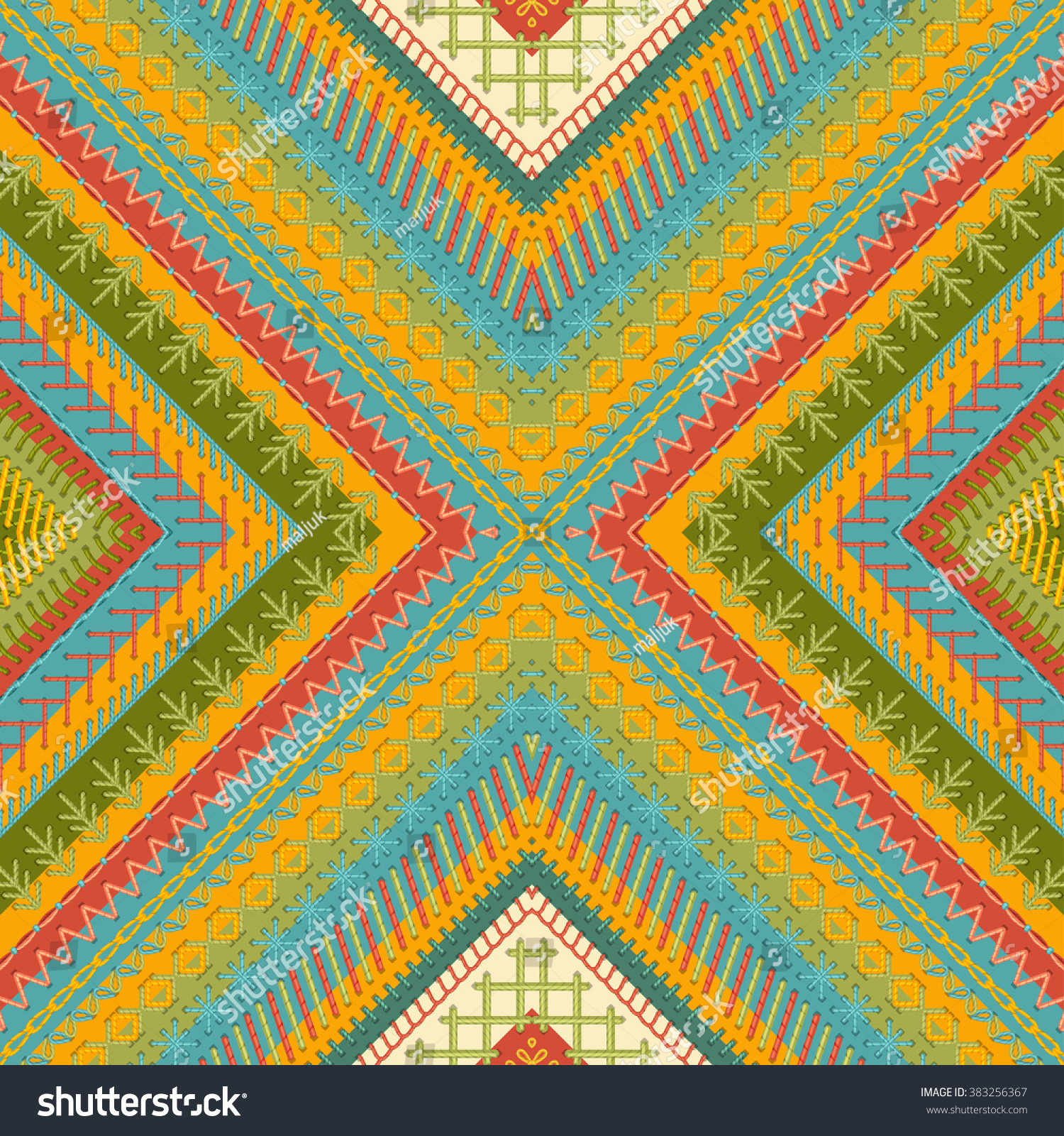 Seamless Tribal Embroidery Pattern Vector High Stock