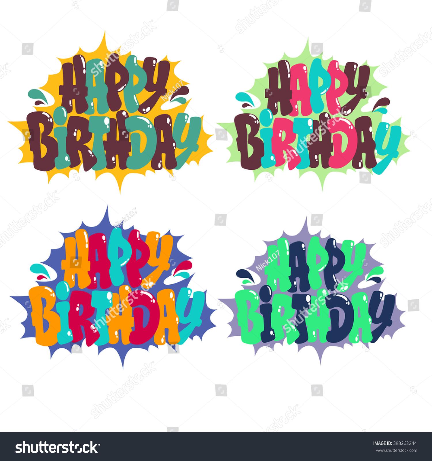 Happy Birthday Graffiti Style Fresh Stock Vector