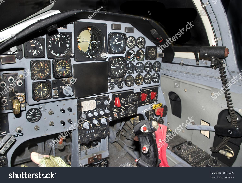 Inside Modern Military Jetfighter Cockpit Control Stock