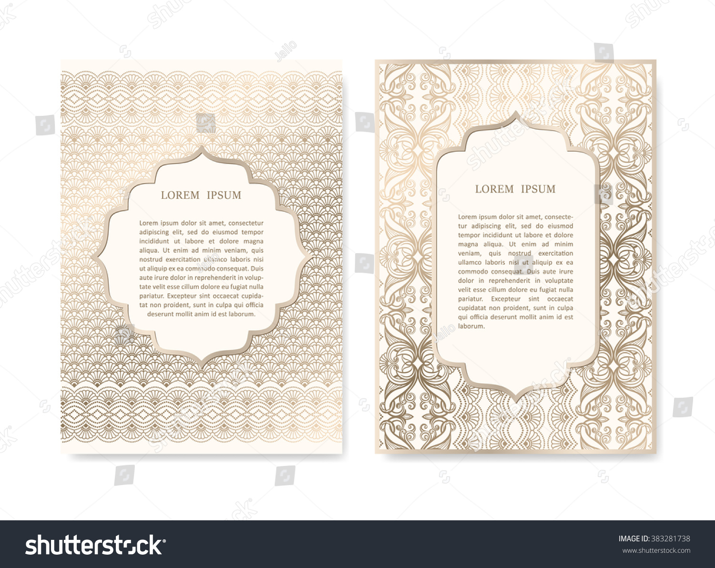 Luxury Gold Invitation Card Set Islamic Stock Image