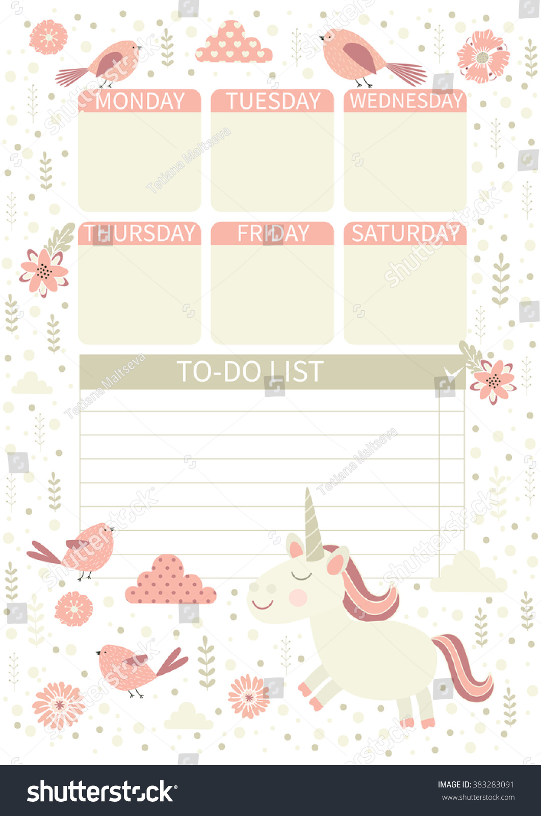 Do List Cute Page Notes Unicorn Stock Vector (Royalty Free