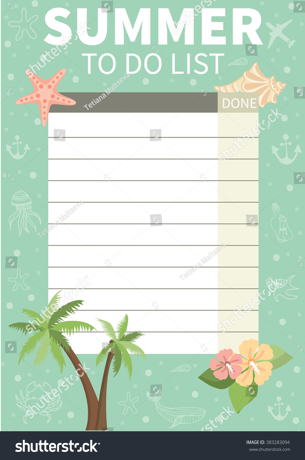 Do List Cute Page Notes Summer Stock Vector 383283094