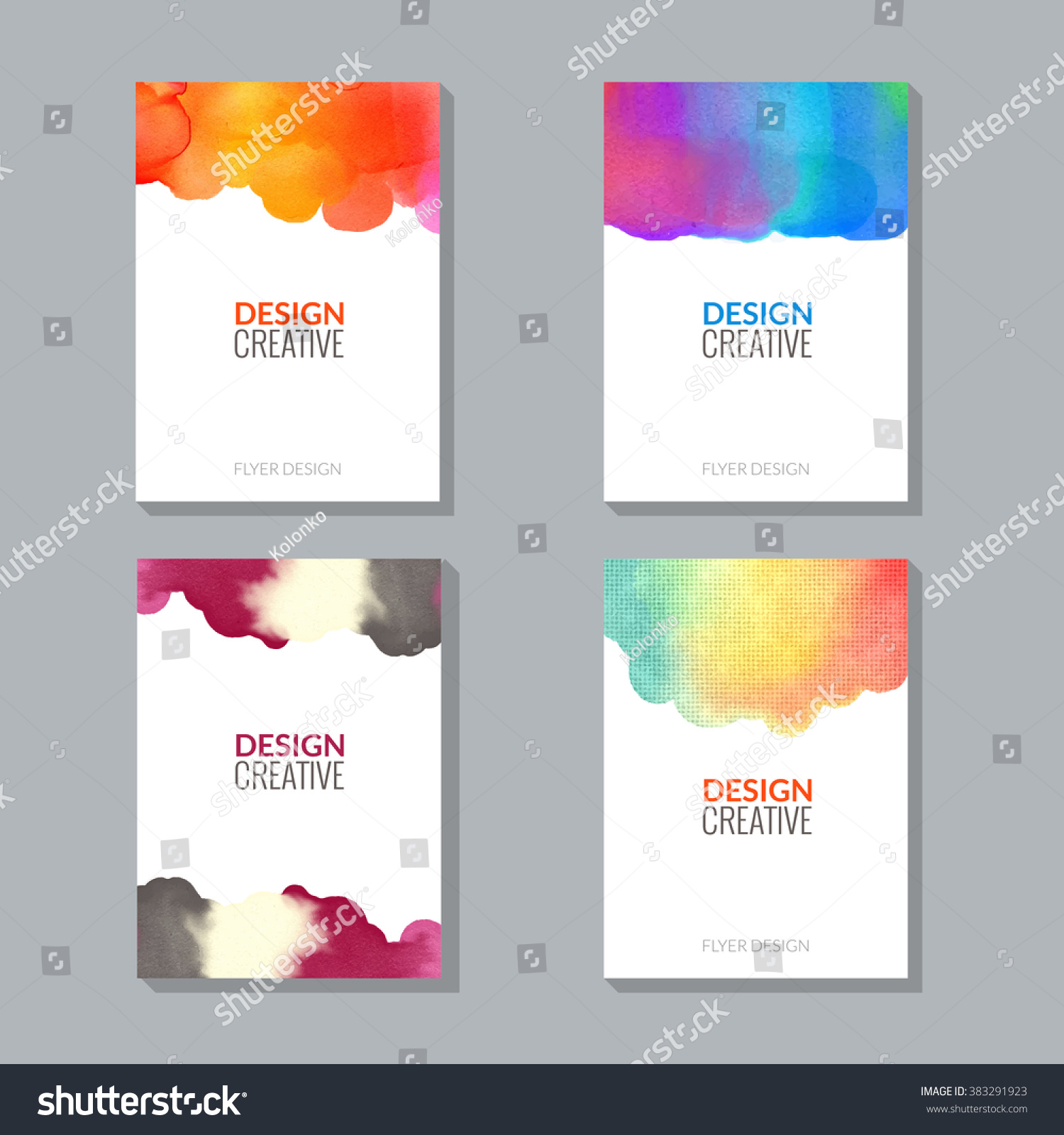 Vector Poster Flyer Templates Watercolor Paint Stock