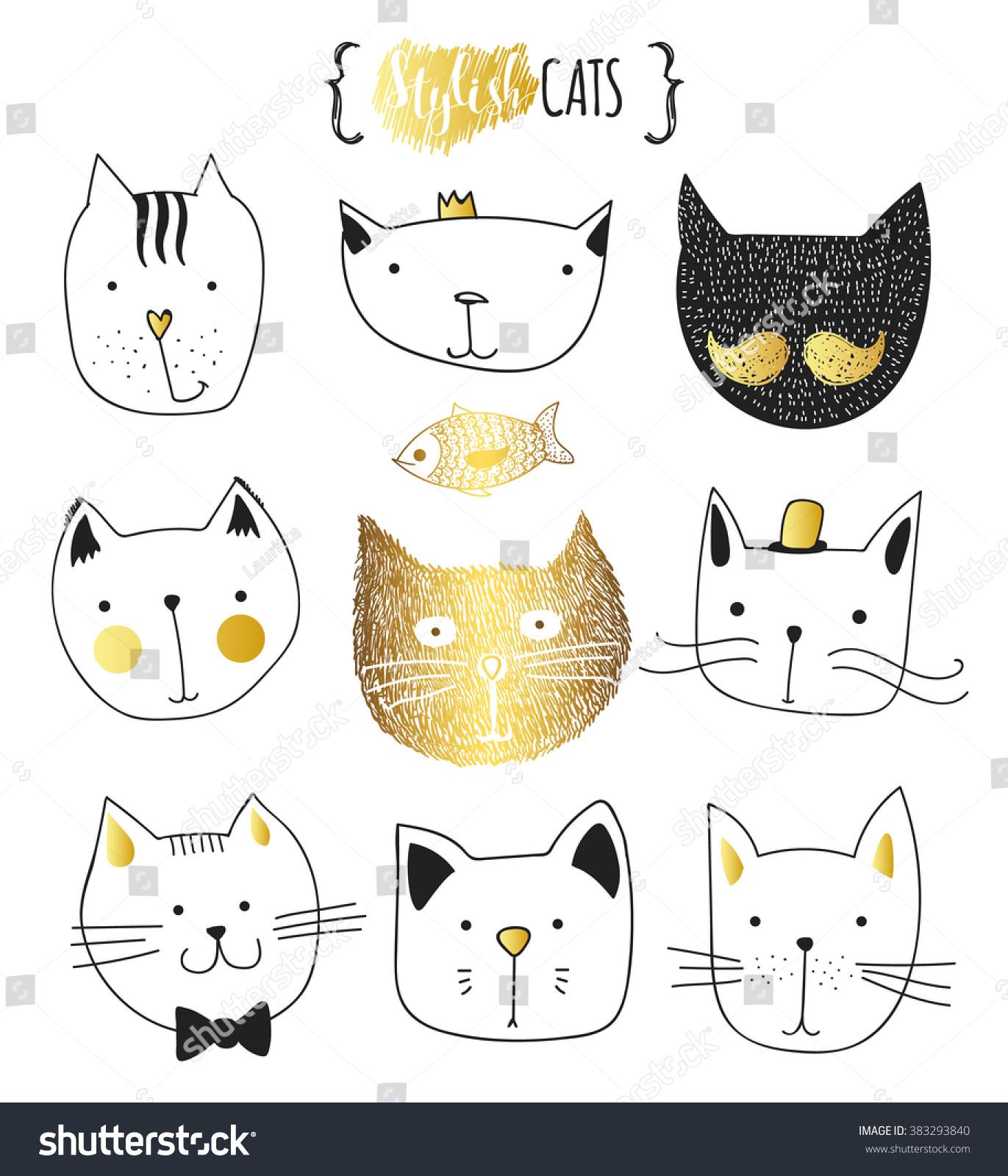 cats set cute doodle sketch character stock vector 383293840