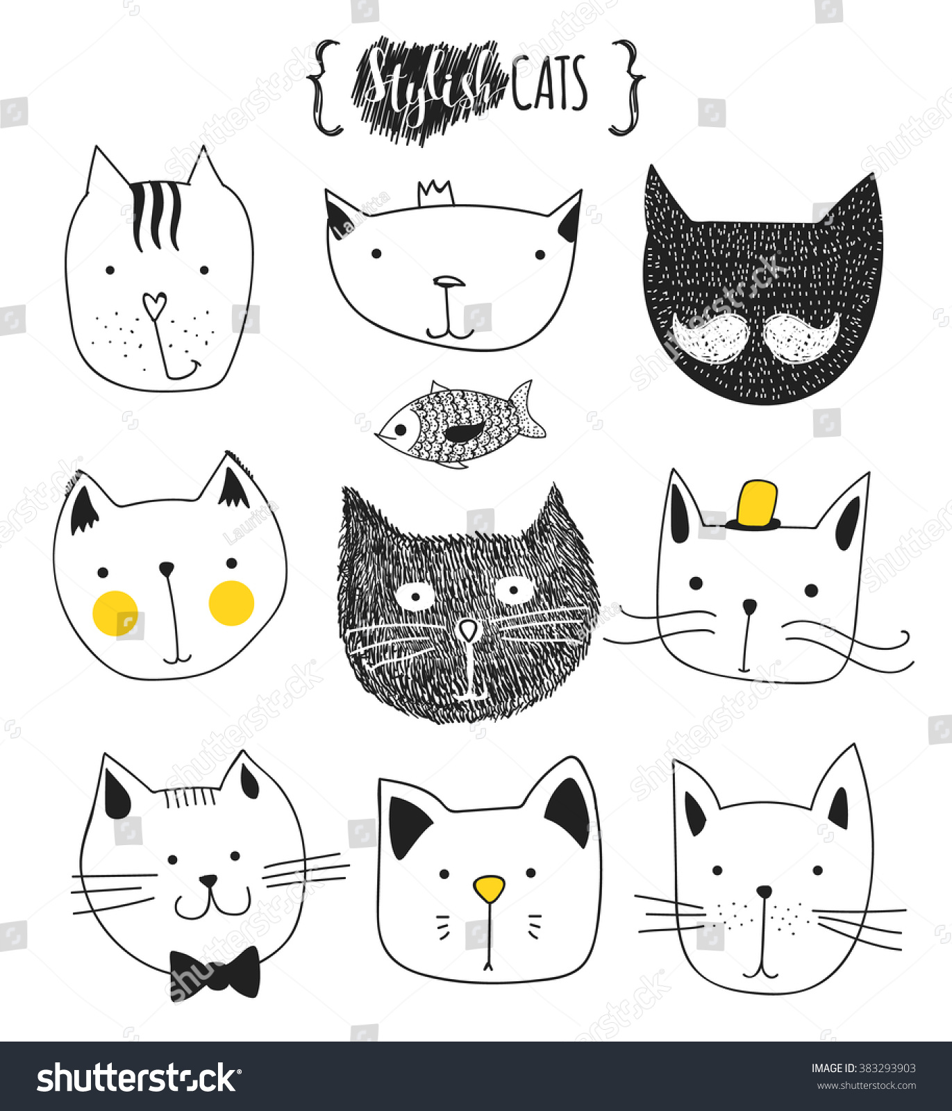 cats set cute doodle sketch character stock vector 383293903