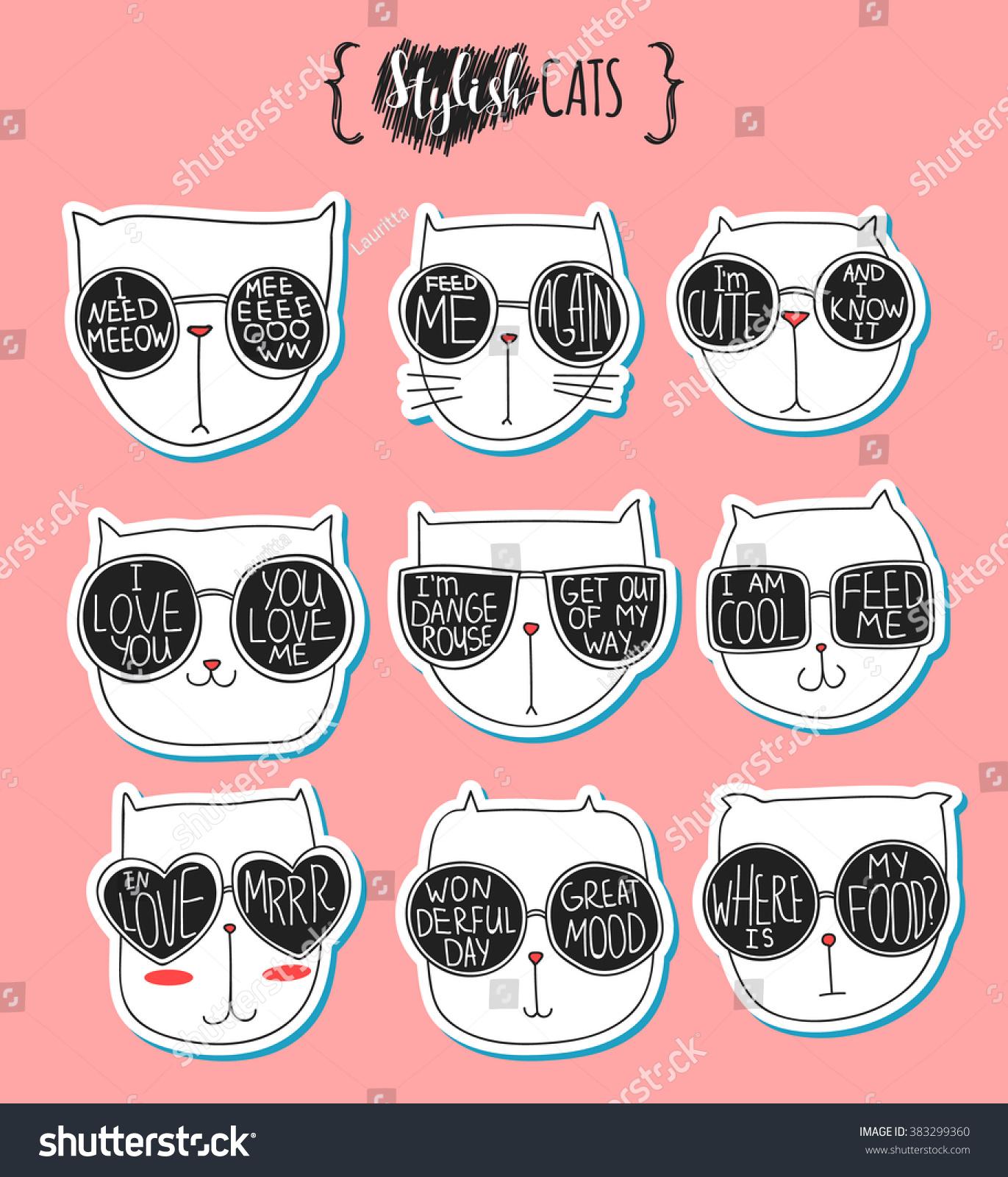 set cute doodle cats glasses sketch stock vector 383299360