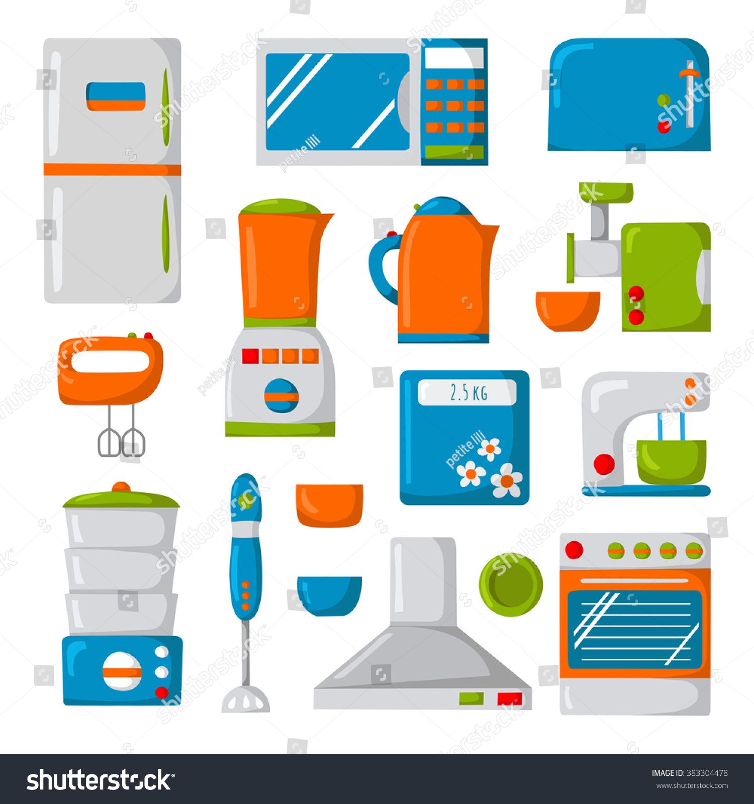 Cartoon kitchen appliances - Set Of Isolated Cartoon Kitchen Appliances Icons Cute Cartoon Objects Kitchen Domestic Electric Equipment