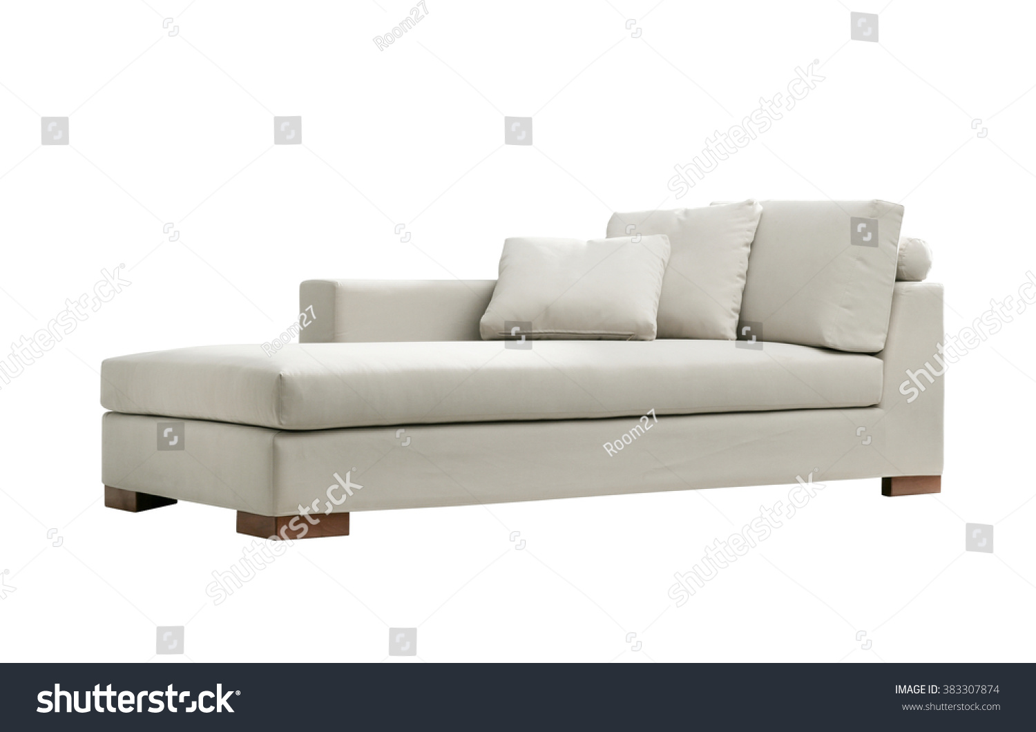 Modern White Suede Couch Isolated On Stock Photo (100% Legal ...