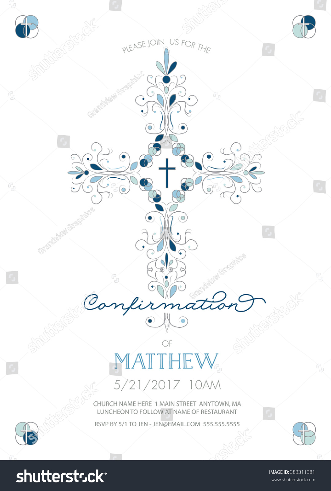Boys Confirmation Invitation Template Fancy Cross Vector – Fancy Invitation Templates