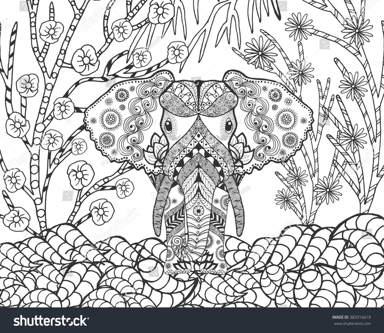 zentangle stylized elephant fantasy garden animals stock vector