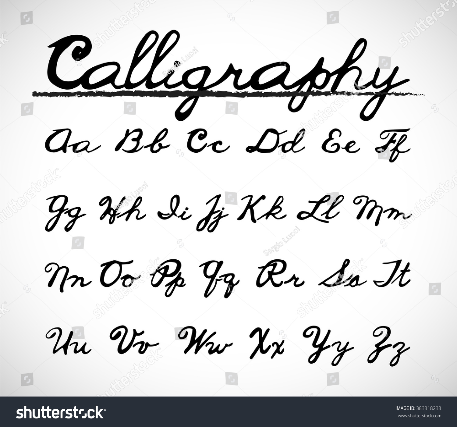 Calligraphy font alphabet set vector with hand