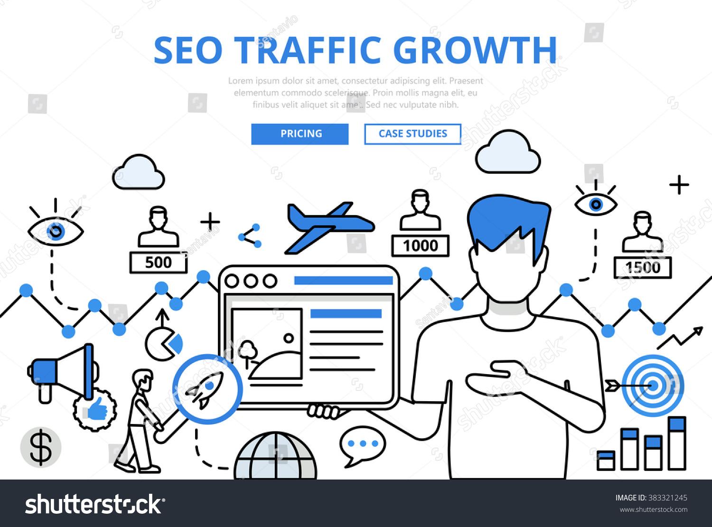 Line Art Website : Seo traffic growth concept flat line stock vector