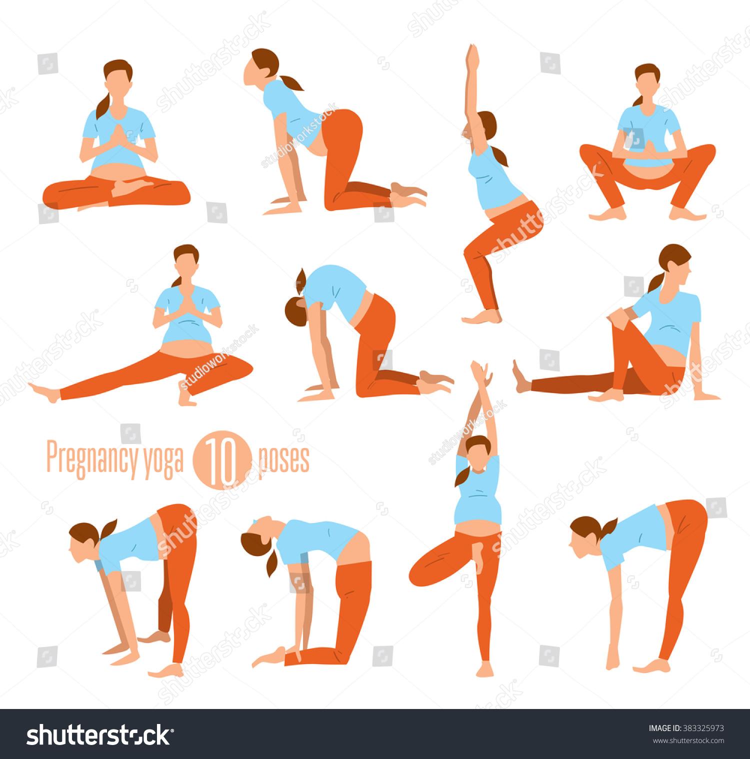 Pregnancy Yoga Yoga Pregnant Women Yoga Stock Vector 383325973 ...